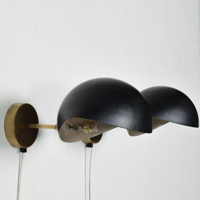 Serge Mouille Black on Brass Italian Double Wall Sconce Antony After Serge Mouille Mid Century Modern - a Pair For Sale - Image 4 of 9
