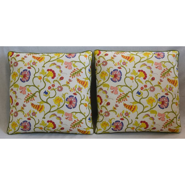 Pair of custom-tailored reversible designer Raoul Textile accent pillows. Pillow fronts are a vintage/never used hand-...