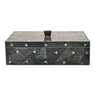 Tessellated Marble Lidded Box For Sale