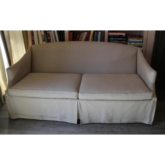 Fabric Lee Industries Taupe Linen Sofa For Sale - Image 7 of 8