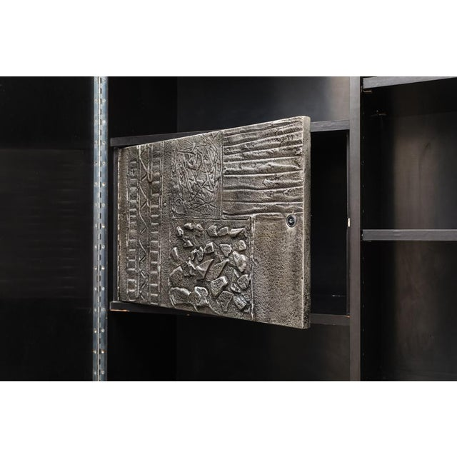Paul Evans, Sculpted Bronze Disc Bar in Aluminum Argente Finish, Usa, 1975 For Sale In New York - Image 6 of 8