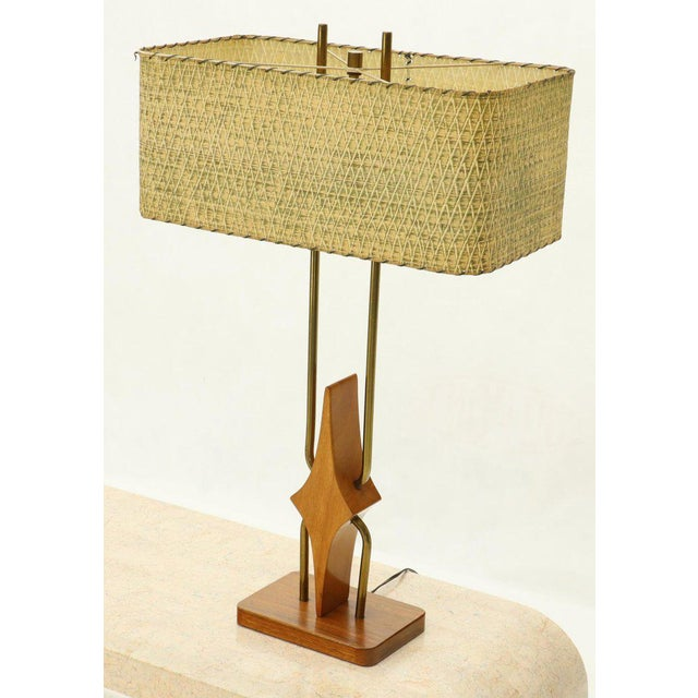 Metal Pair of Walnut and Brass Diamond Pattern Table Lamps For Sale - Image 7 of 13