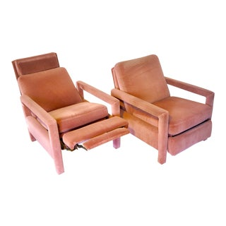 Vintage Mid Century Reclining Baughman Style Open Arm Parsons Chairs- A Pair For Sale
