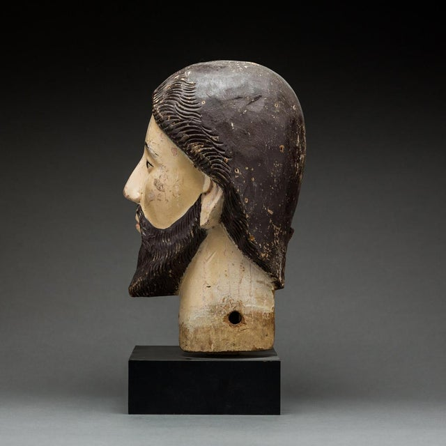 Wooden Head of a Saint For Sale - Image 4 of 5