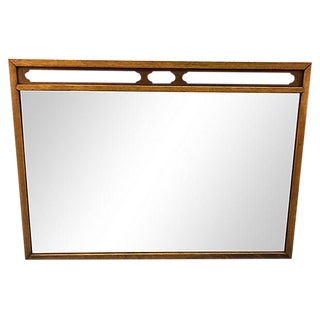 Drexel Compass Pecan Wood Wall Mirror For Sale