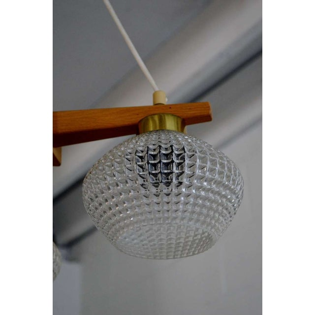 Mid-Century Teak Brass & Glass 3 Arm Chandelier For Sale - Image 5 of 8