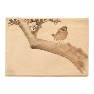 19th Century Meiji Era Japanese Sparrow Sitting on Persimmon Tree Watercolor Painting For Sale