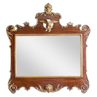 Vintage Large Antique Mahogany and Gilt Mirror-English For Sale