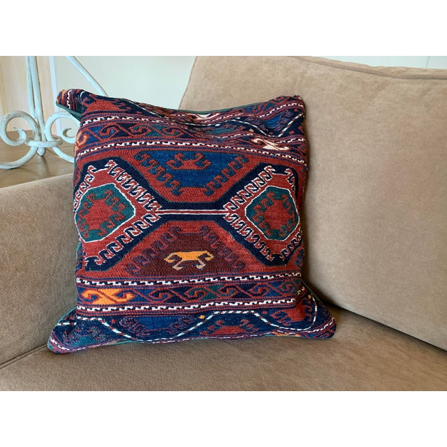 """Turkish pillow cover (cover only) made from a handwoven wool kilim cradle panel (not a rug segment), Shahsavan Sumak. 18""""..."""