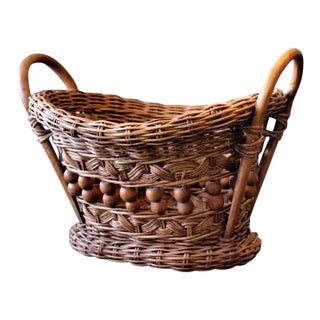 Boho Chic Style Wicker Basket/Planter With Wood Beads and Bottom For Sale