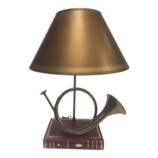 Vintage Brass Looped Hunter's Horn Bugle Made Into a Table Lamp by Robert Abbey For Sale