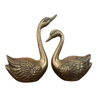 Vintage Mid-Century Brass Swans - a Pair For Sale