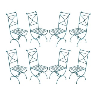 Suite of Eight Early 20th-Century Neoclassical-Style Painted Wrought-Iron Side Chairs For Sale