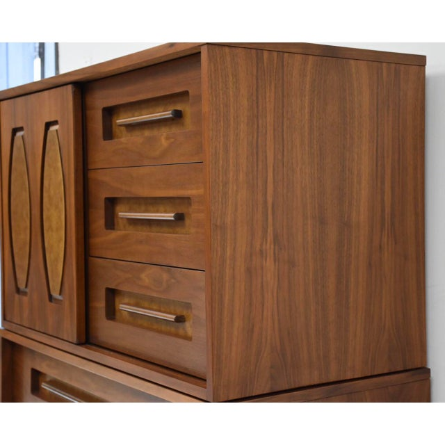 Young Manufacturing Walnut Tall Dresser For Sale - Image 4 of 11
