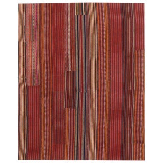 "Modern Style Turkish Jajim Colorful Stripes Kilim Flat-Weave Rug - 8'9"" X 10'11"" For Sale"