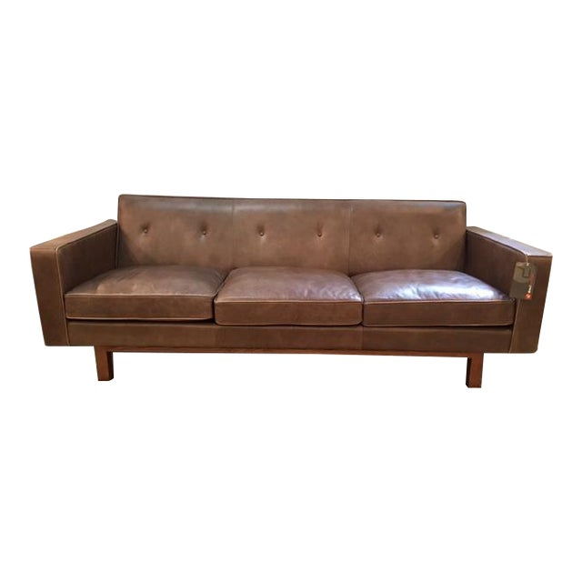 Gus Modern Leather Embassy Sofa For Sale