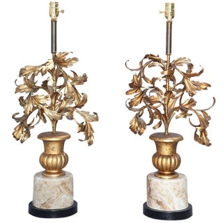 Pair of Gilded Iron Leaf Filled Urn Lamps For Sale
