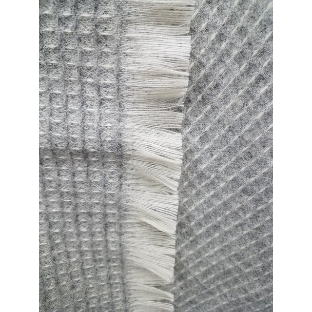 Textile Wool Throw - Gray Waffle Weave Made in England For Sale - Image 7 of 9