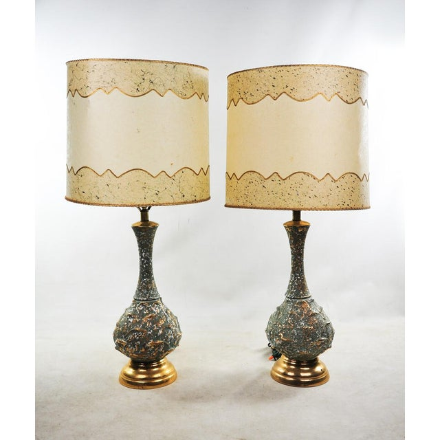 Mid-Century Modern Ceramic Textured Table Lamps - a Pair For Sale - Image 11 of 11