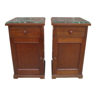 Nightstands or End Tables With Green Faux Marble Tops - a Pair For Sale