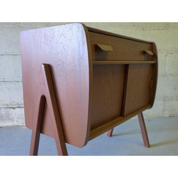 Sculpting Mid Century Modern Teak Cabinet / Mini Credenza For Sale - Image 7 of 7