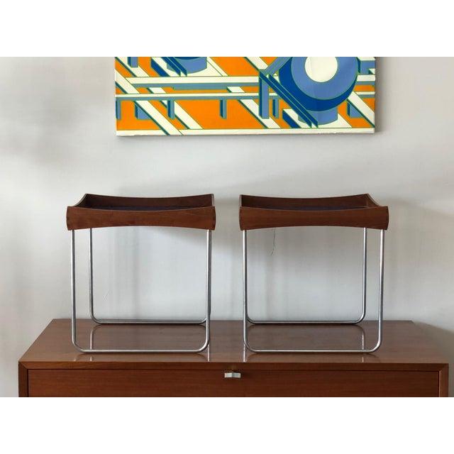 Mid-Century Modern 1960s Vintage Hermann Bongard for Plus-Linje Norwegian Enamel Tray Tables - A Pair For Sale - Image 3 of 12