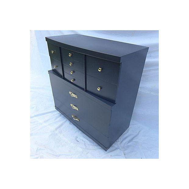 Asian Urban Style Step-Down Tall Dresser in Asian Black For Sale - Image 3 of 8