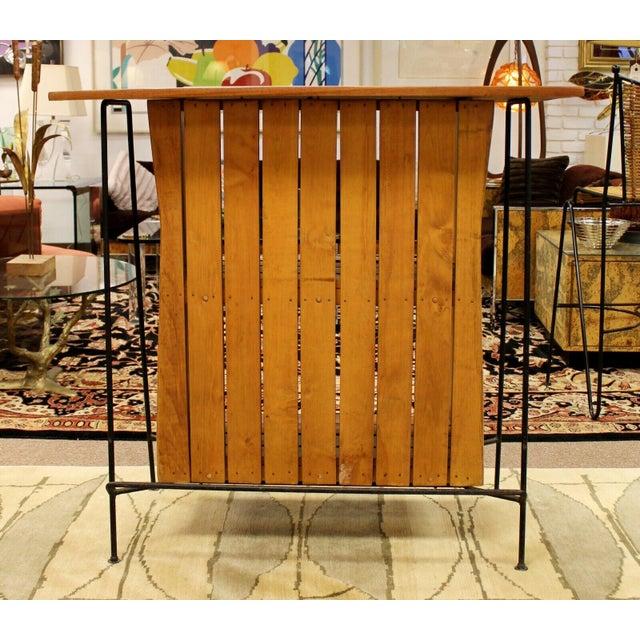 1950s Mid Century Modern Arthur Umanoff for Raymor Iron & Wood Slat Standing Bar 1950s For Sale - Image 5 of 13