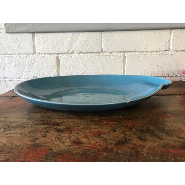 Vintage Pottery Palette Shaped Blue Glazed Platter For Sale - Image 4 of 8