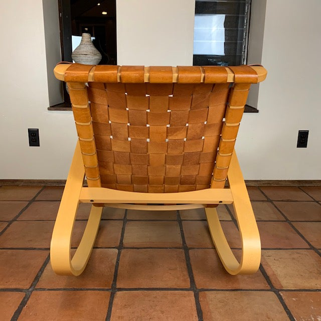 Design Within Reach 1950s Wood and Leather Dwr Dondola Rocker For Sale - Image 4 of 8