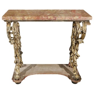 18th Century Italian Carved and Gilded Console With Original Marble Top For Sale