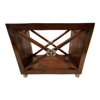 Contemporary Wooden and Silver Wrapped Magazine Stand For Sale