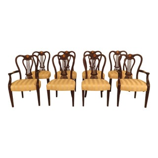 John Widdicomb Inlaid & Carved Regency Dining Room Chairs - Set of 8 For Sale