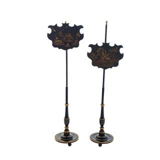 19th Century Vintage Chinoiserie Pole Screens - A Pair For Sale