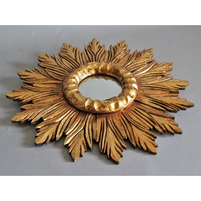 French French Carved Gilt Wood Sunburst Mirror For Sale - Image 3 of 9