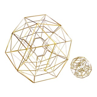 CB2 Brass Sphere Sculptures - a Pair For Sale