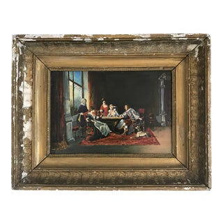"""19th Century Antique French """"Merry Company"""" Oil Painting For Sale"""