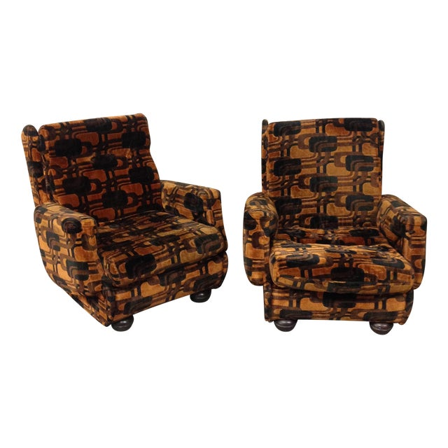 Vintage French Retro Brown Armchairs - A Pair For Sale