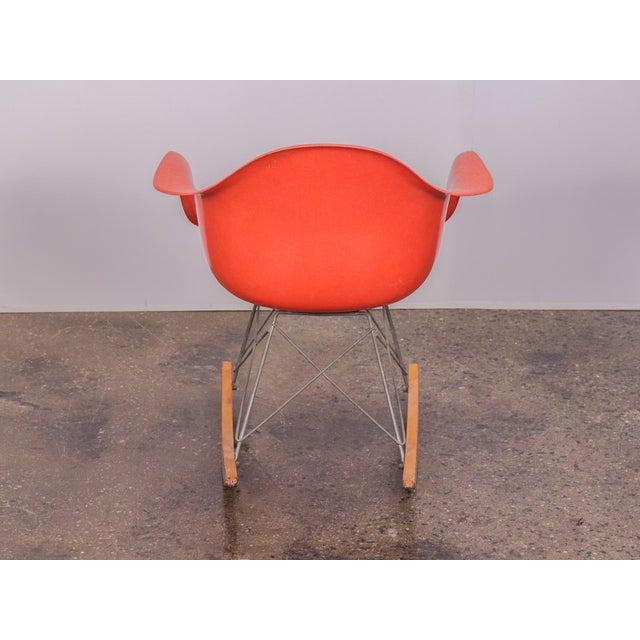 1960s Eames Orange Armchair on Rocker Base For Sale - Image 5 of 11