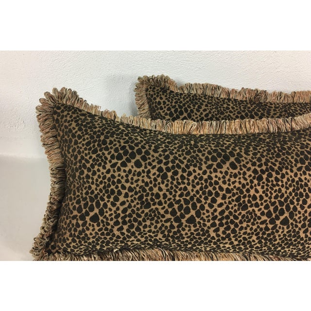 Italian Chenille Faux Leopard Pillows- a Pair For Sale - Image 5 of 6