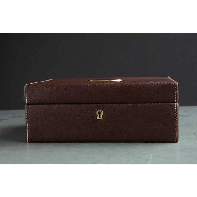 Mark Cross Leather Brown Leather Jewelry Box From the Collection of Ann Turkel For Sale - Image 9 of 13