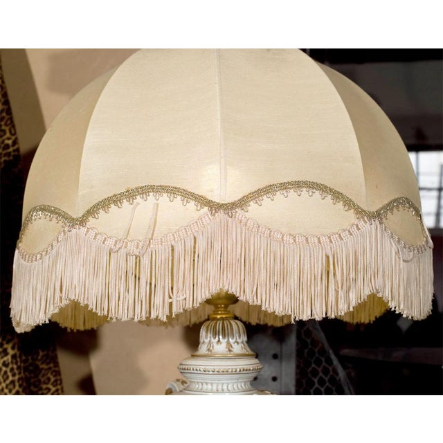 Ornate White Ceramic Lamps on Bronze Base - A Pair For Sale In New York - Image 6 of 9