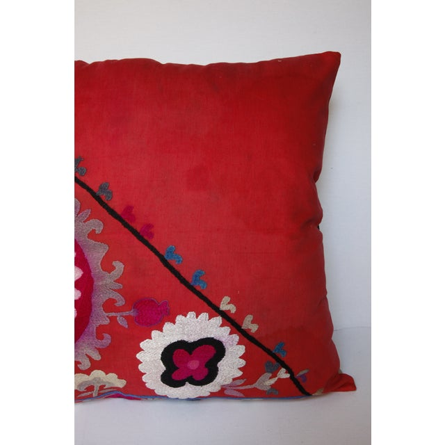 Vintage Needlework Suzani Pillow Cover For Sale In Baltimore - Image 6 of 12