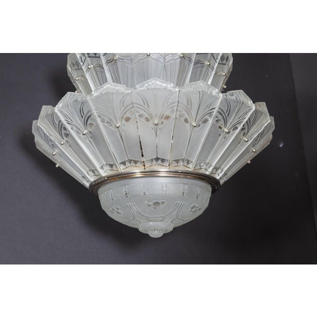 1930s Rare Original French Art Deco Tiered Sabino Chandelier For Sale - Image 5 of 12