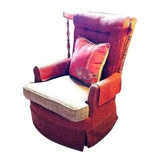 Vintage Tufted Wooden Wings Rocker Swivel Chair