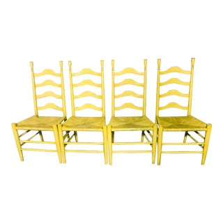 Vintage Ladder Back Yellow Chairs- Set of 4 For Sale