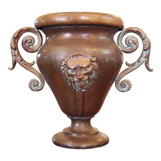 Volute Handled Copper Urn For Sale