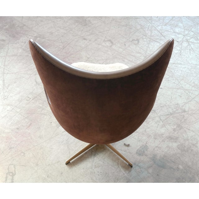 Animal Skin Golden Egg Chair Special Anniversary Edition by Fritz Hansen For Sale - Image 7 of 11