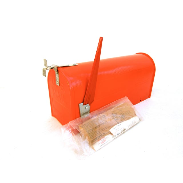 Vintage Industrial Fire Orange Metal Mailbox For Sale - Image 9 of 11