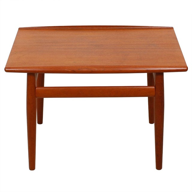 Danish Modern Grete Jalk Teak End Table with Raised Lip Edge For Sale - Image 3 of 9